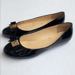 Liz Claiborne Patent Black Bow Ballet Flats Sz 10